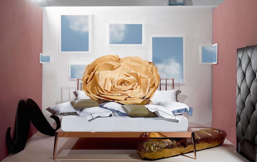 bed rose paper sky blue mustache interior