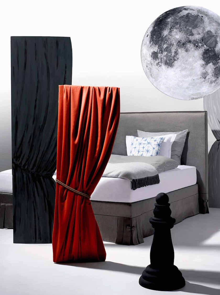 bed interior curtain curtains red black grey moon