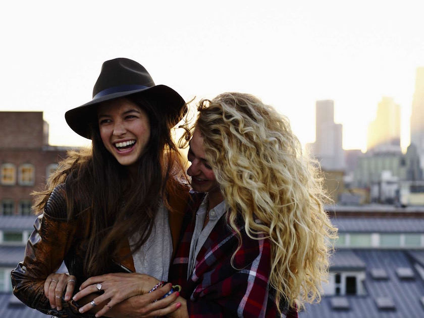 girls laugh roof blond hair curly laugh smile fun happy joy friends girl