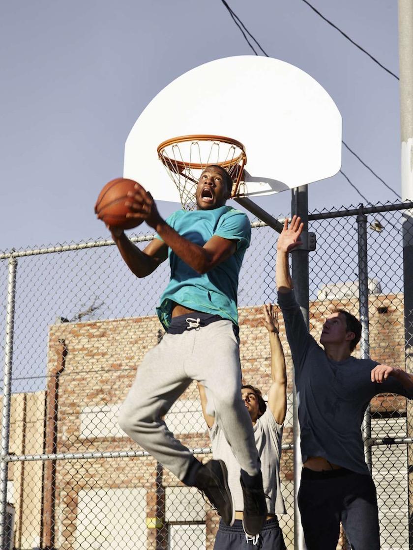man men sport sports play game basketball ball jump fence