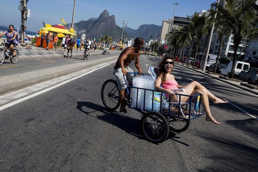 brazil street man drive ice cubes warm summer sun sunny