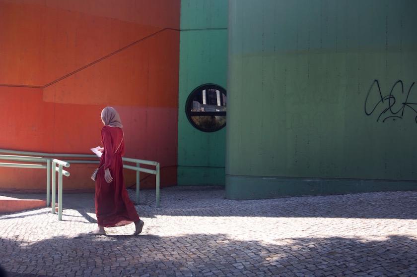 girl woman street sun sunny cobblestone