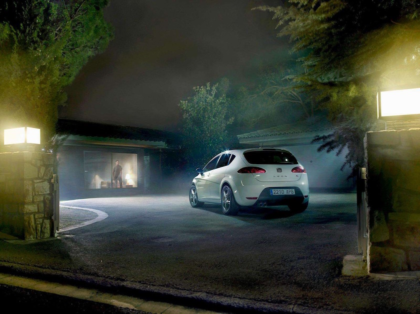 car dark evening night garage house garden park parking