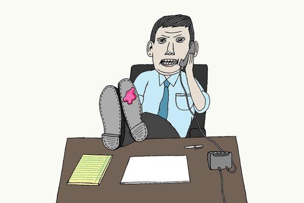hand drawing vector man work business figurative humorous people shirt tie desk chewing gum shoe phone boss