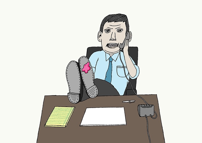 hand drawing vector man work business figurative humorous people shirt tie desk chewing gum shoe phone boss
