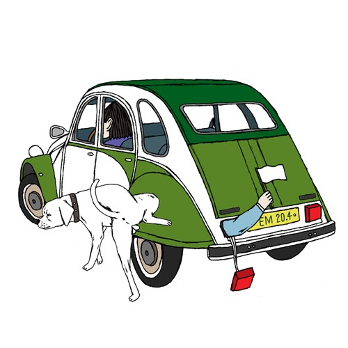 hand drawing vector figurative humorous man people transportation car dog animal flag pee 2CV bizarre Object Animals animal