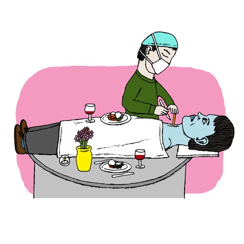 hand drawing vector man humorous people work surgeon operation dinner absurd bizarre surgery