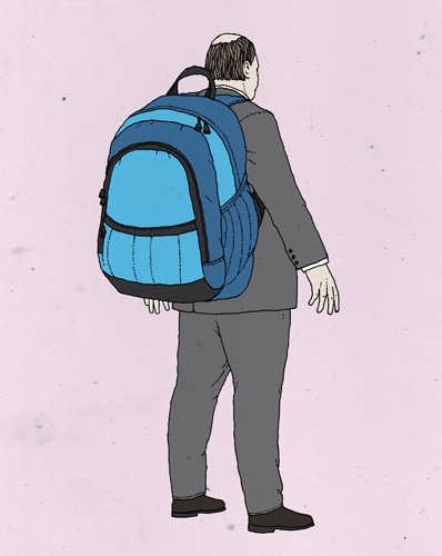 hand drawing vector man fashion portrait figurative humorous people suit backpack big back bald