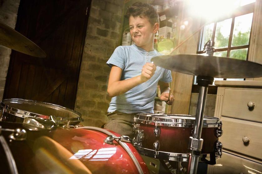kid kids boy child children music instrument play happy joy fun drums