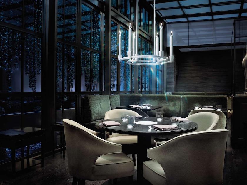 restaurant table chair chairs lamp wooden mirror green velvet