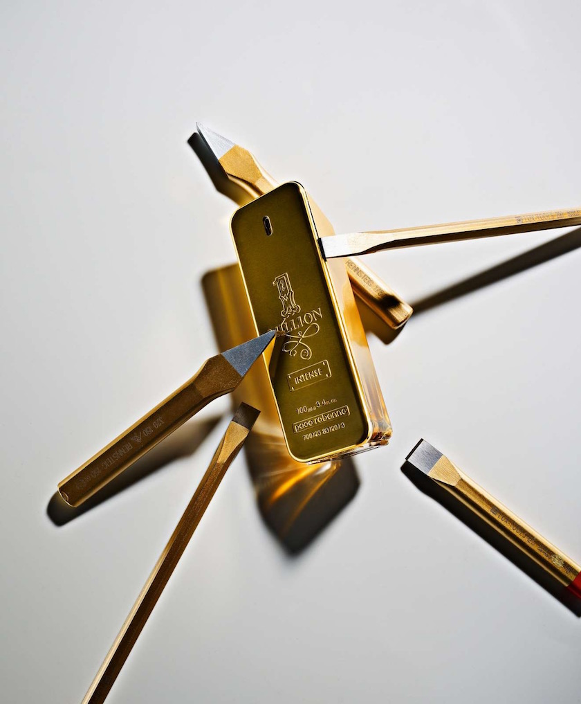 gold golden perfume fragrance tool tools chisel
