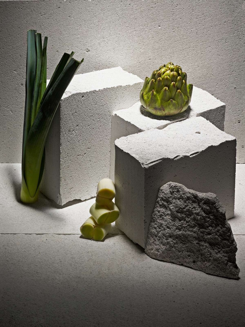 vegetable vegetables leek stone white green artichoke brick
