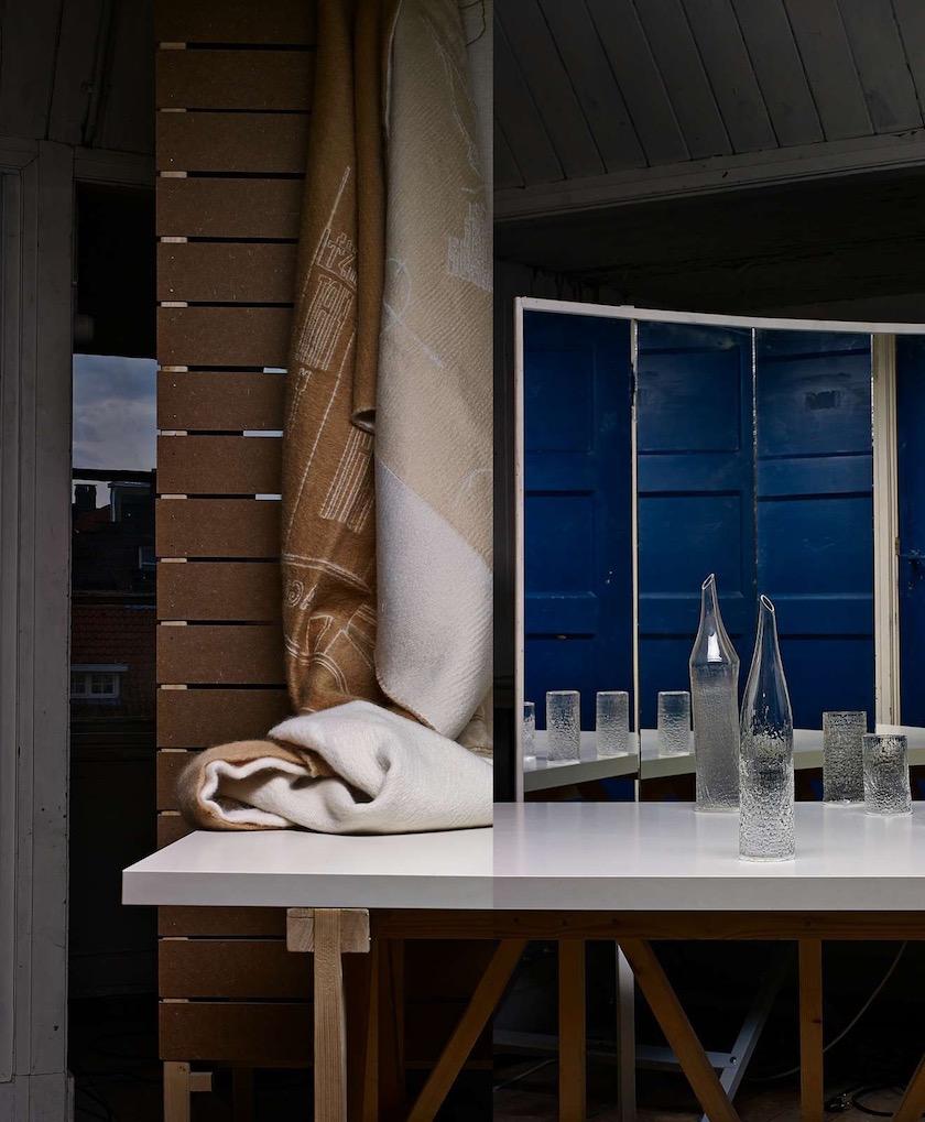 mirror glass reflection blue wood wooden sheet