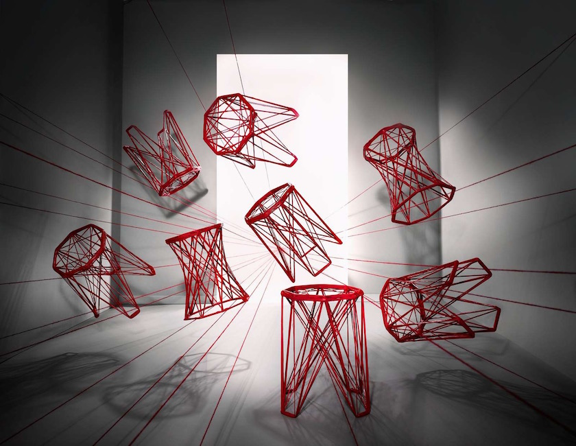 stool stools table tables red rope ropes constructed construction hang hanging space room