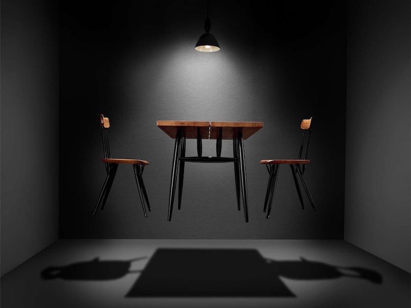 chair chairs wood wooden black construction constructed space room table lamp dark grey