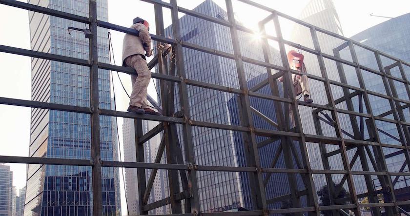 work worker build building construction fuse weld bond sunflare