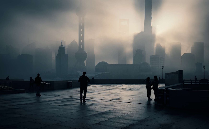 cityscape fog foggy clouds cloudy smog china shanghai dark grey