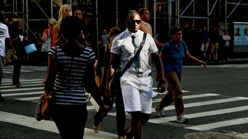 photograph photographer photo photographers photography black man men urban city white sunglasses sunny sun street crosswalk stripes