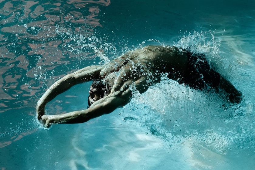 photograph photographer photo photographers photography swim sport water wet man men swim swimming light green splash bright blue beard