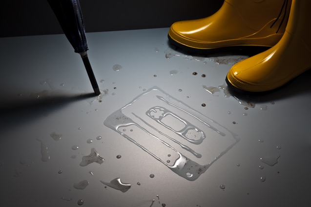 tactile art conceptual handcrafted tape cassette water liquids liquid rain Wellington boot, rubber boot umbrella