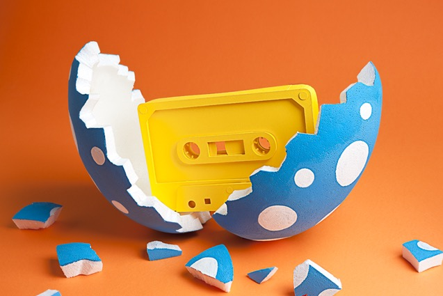 tactile art conceptual handcrafted tape egg cassette born