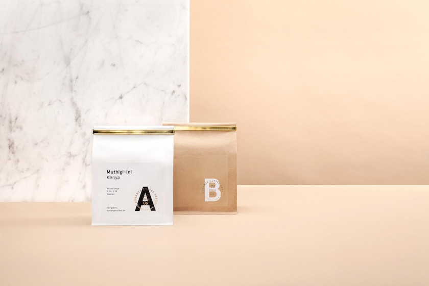 stills coffee packaging marble beige