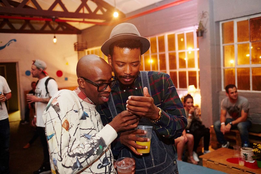 photo photos photography photographer photographers young black man men friends party drink drinks glasses hat plaid phone cell mobile