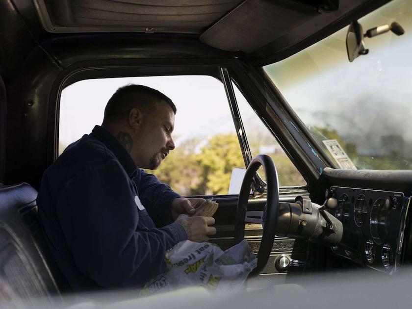 photo photos photographer photographers photography car man work worker break sandwich eat eating bread tattoo