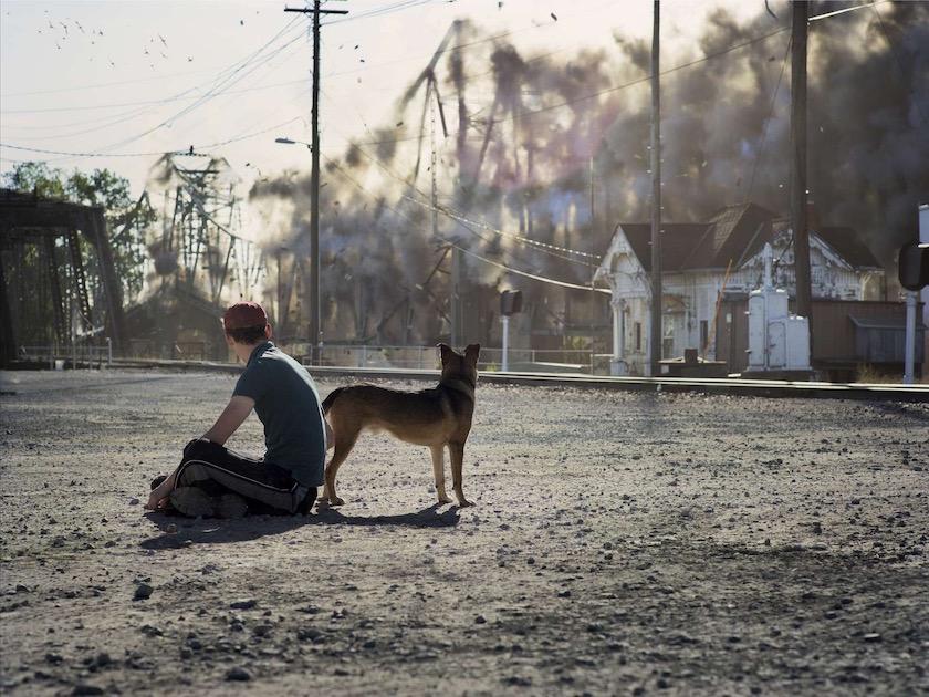 photo photos photographer photographers photography explosion smoke bridge man dog street sit sitting