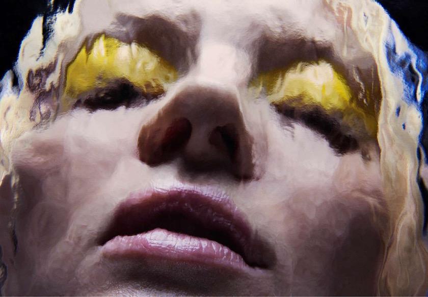 photo photos photographer photographers photography woman face blurry make up effect yellow glass pane