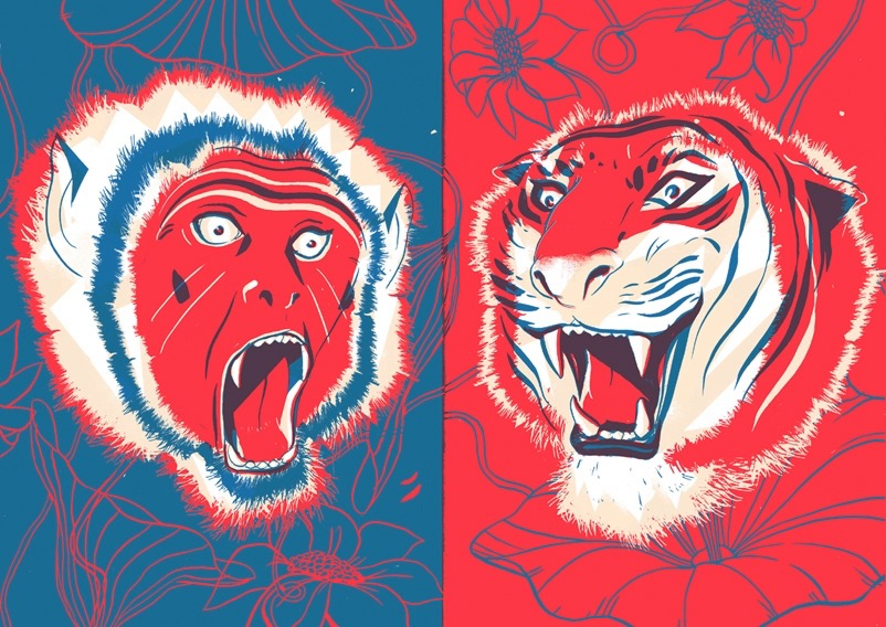 Digital Painting Elegant vector screenprint flower flowers animal animals monkey tiger