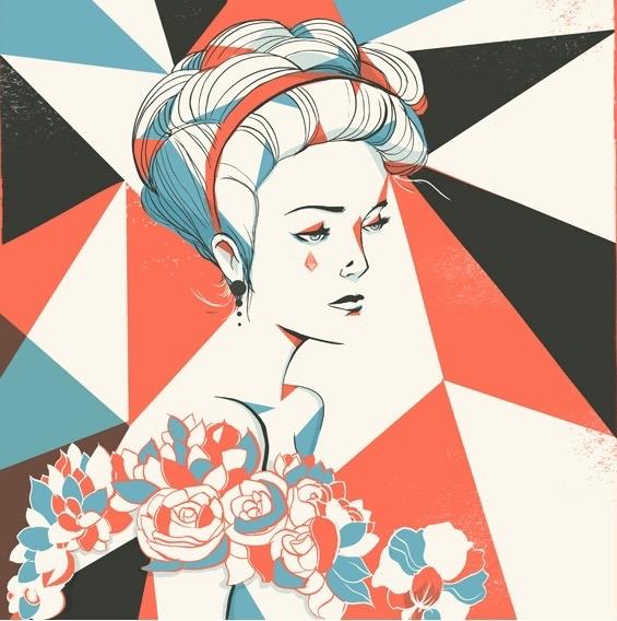 Digital Painting Elegant vector screenprint fashion woman dress flower flowers