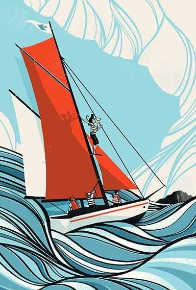 Digital Painting vector screenprint geometric geometrical see ship boat waves clouds cloud nautical