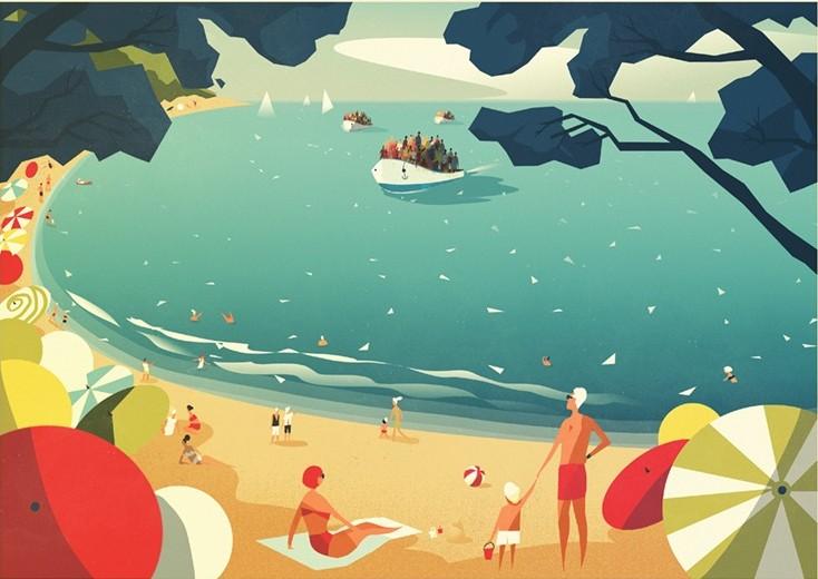 Digital Painting Elegant screenprint clouds cloud boat ship see leisure travel beach sand parasol parasols vacation refugee