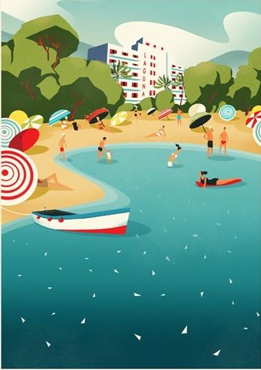 Digital Painting Elegant screenprint clouds cloud boat ship see leisure travel beach sand parasol parasols vacation laguna