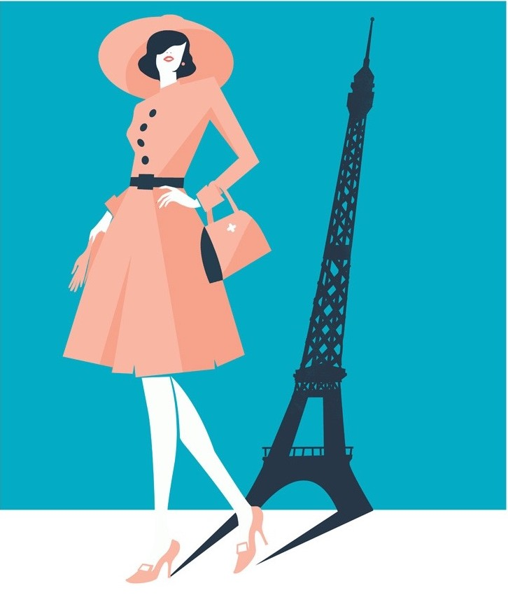 Digital Painting Elegant vector fashion paris Eiffel tower woman dress hat bag shoes shadow bold shape