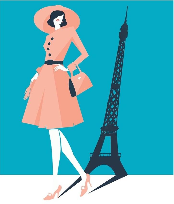Digital Painting Elegant vector fashion paris Eiffel tower woman dress hat bag shoes shadow bold shape