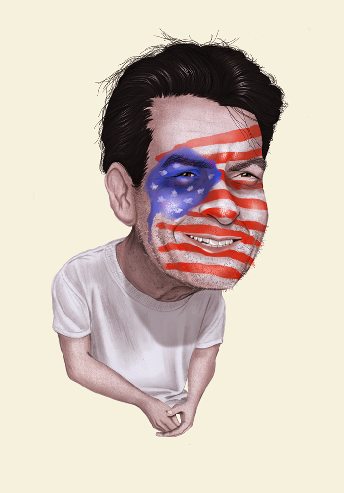 illustration, illustrations, illustrator, illustrators, man, men, america, patriotic, charlie sheen, smile, smiling, white shirt, t shirt, tee shirt