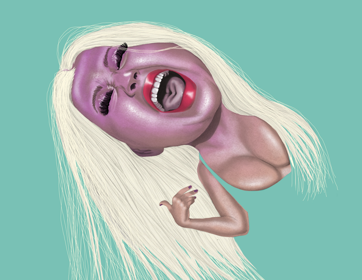 illustration, illustrations, illustrator, illustrators, woman, women, sing, singing, christina aguilera, famous, blonde, scream, yell, yelling, breasts