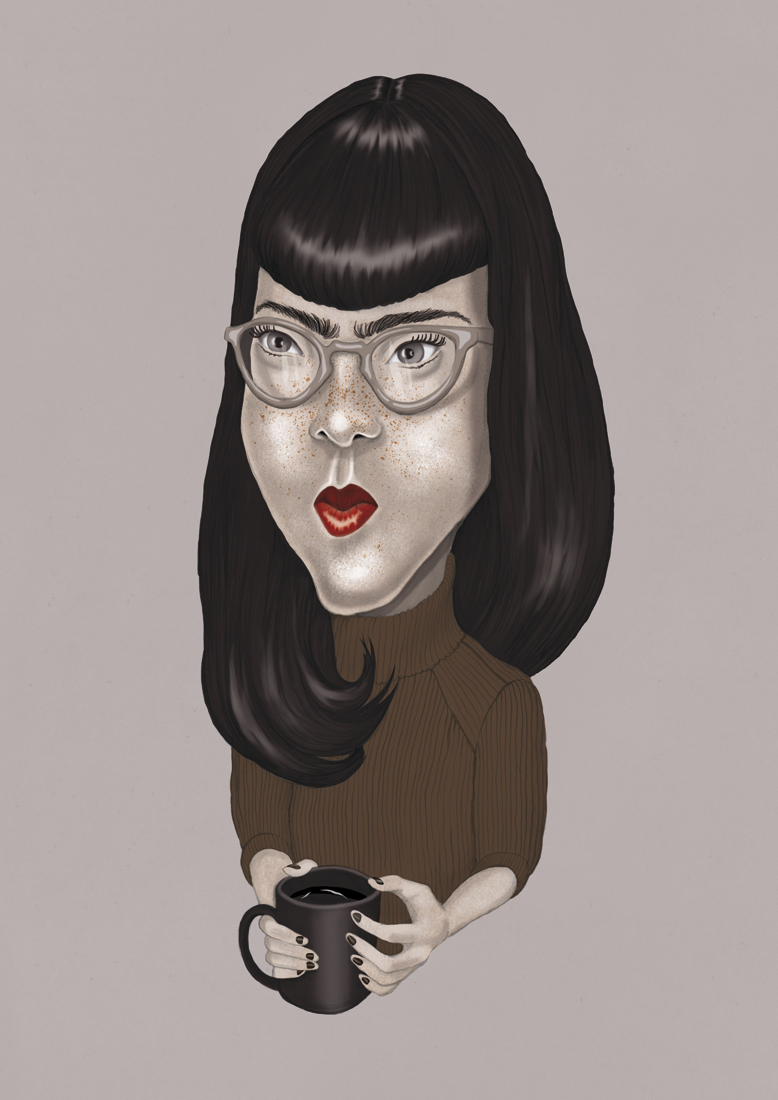 illustration, illustrations, illustrator, illustrators, woman, women glasses, nerd, nerdy, hairstyle, sit, sitting, lipstick, dark, neutral