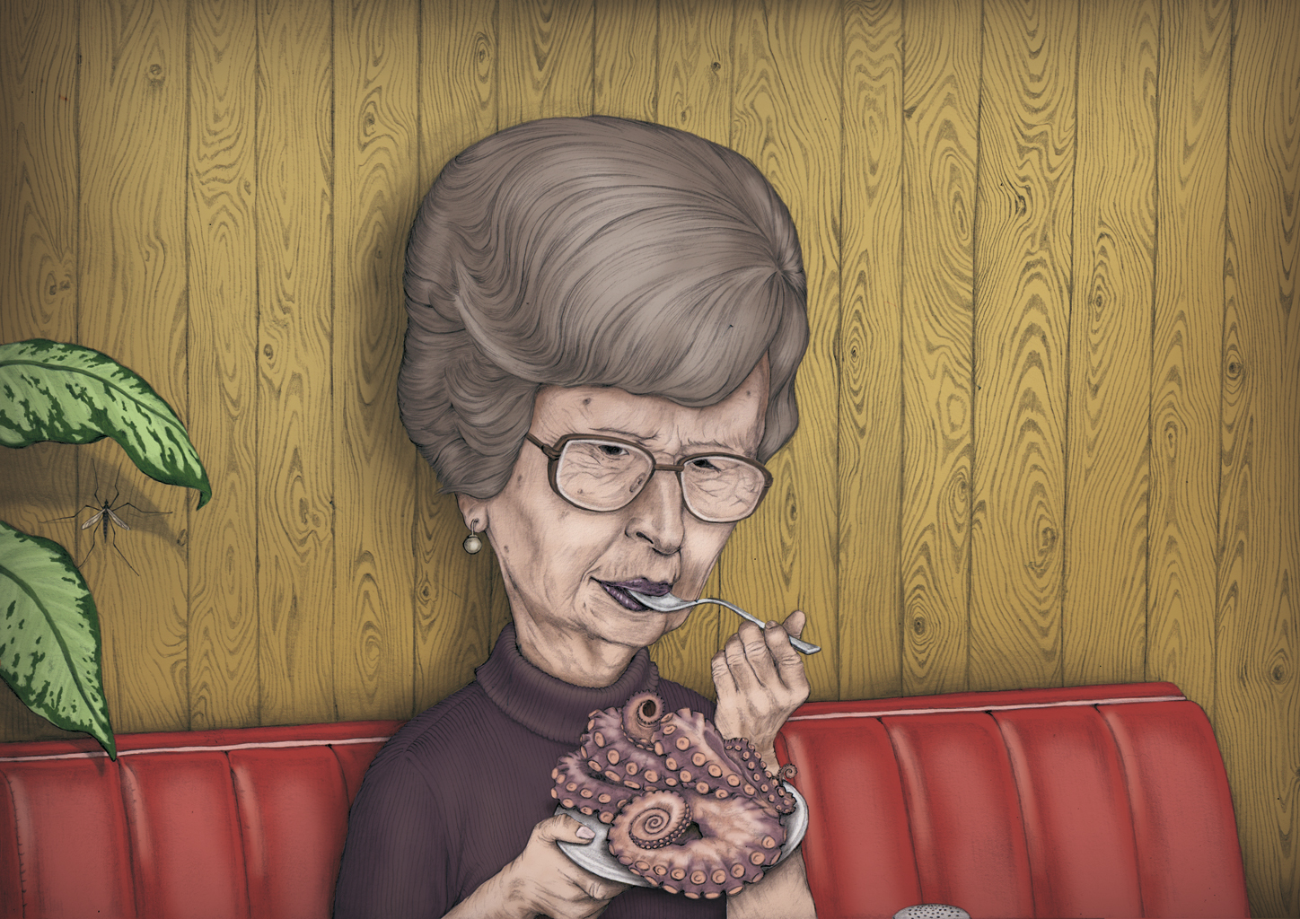 illustration, illustrations, illustrator, illustrators, octopus, animal, woman, women, wood, paneling, panels, plant, plants, eat, eating, old, elderly, gray hair, glasses