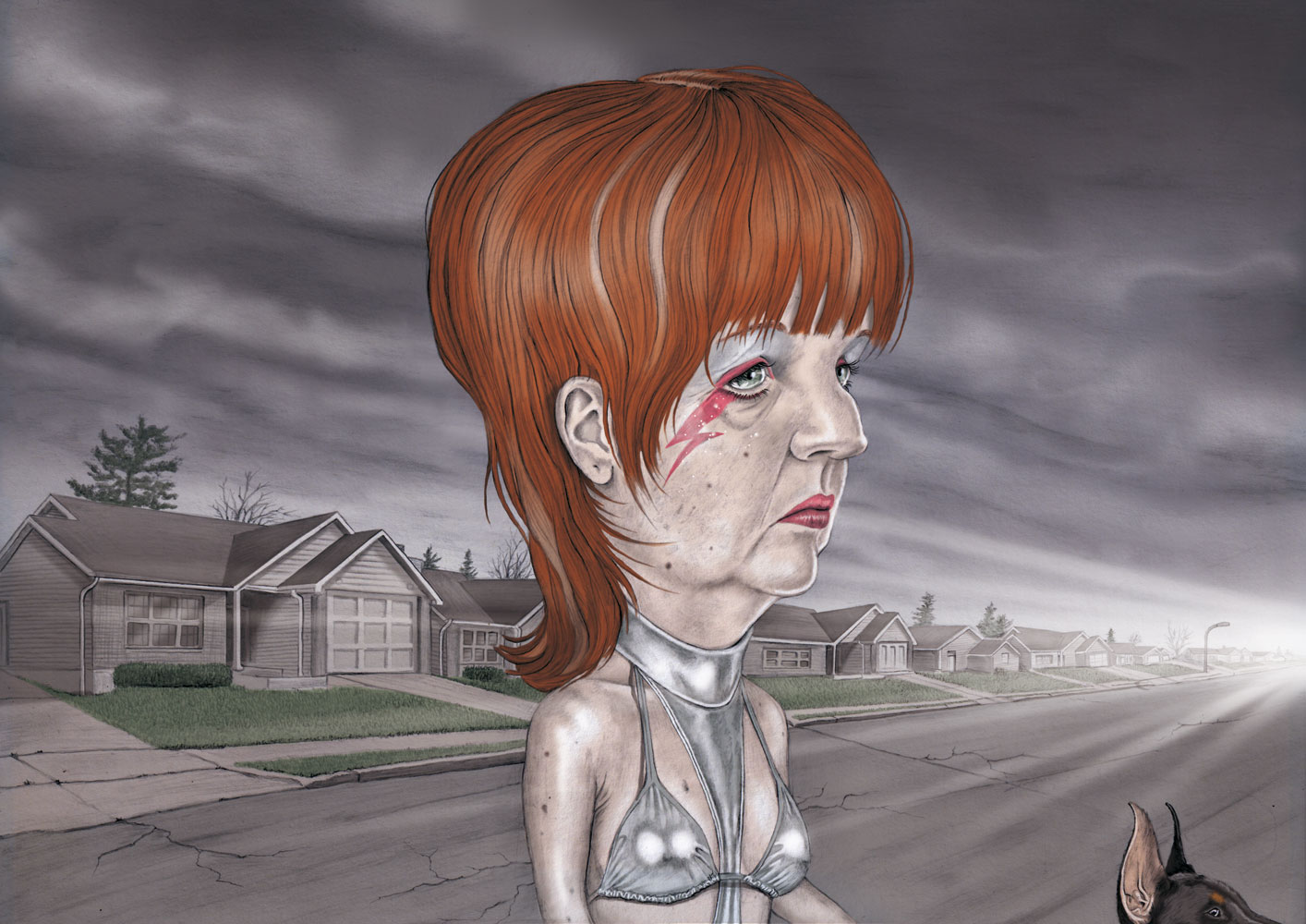 illustration, illustrations, illustrator, illustrators, woman, women, dog, animal, dogs, house, houses, cloud, clouds, overcast, cloudy, tree, trees, street, streets, suburban, suburbia, makeup, old, elderly, hair, hairstyle, bikini, metallic, swimsuit, erotic, strange, humorous