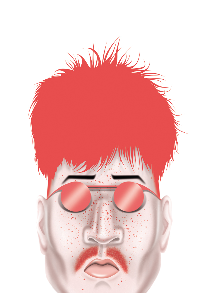 illustration, illustrations, illustrator, illustrators, man, men, sunglasses, mustache, pink hair, hairstyle, freckles