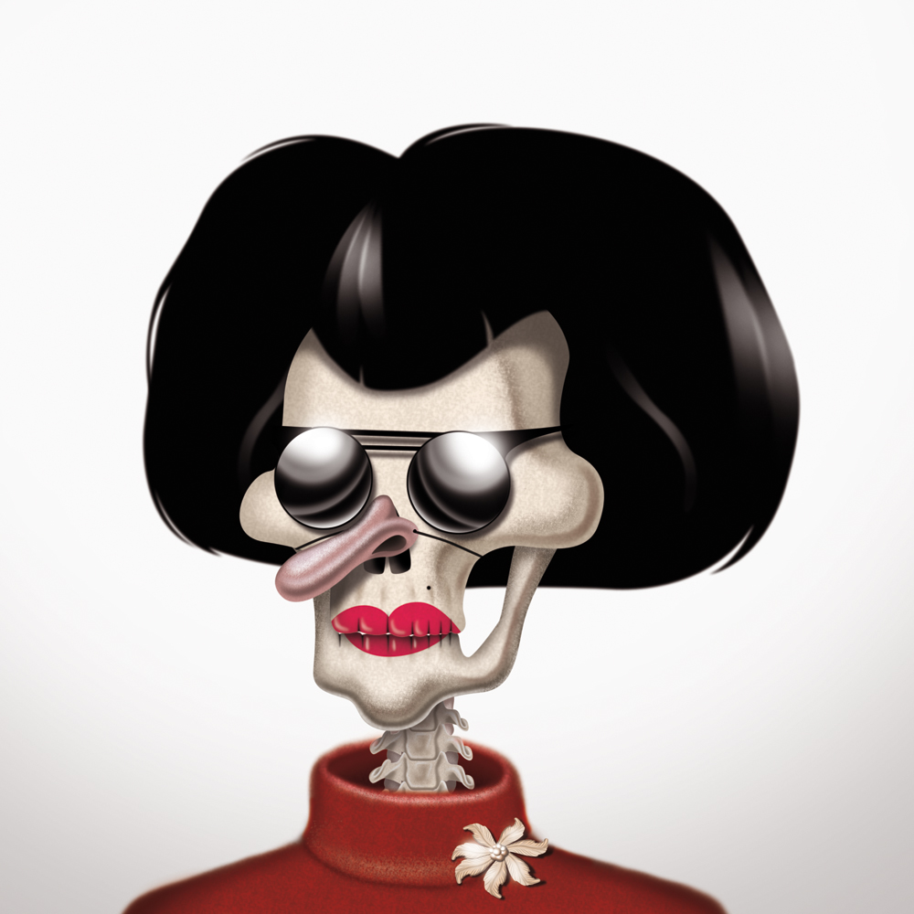 illustration, illustrations, illustrator, illustrators, skeleton, sunglasses, hairstyle, hair, lipstick, nose, costume, sweater, brooch, jewelry, accessories, weird, funny