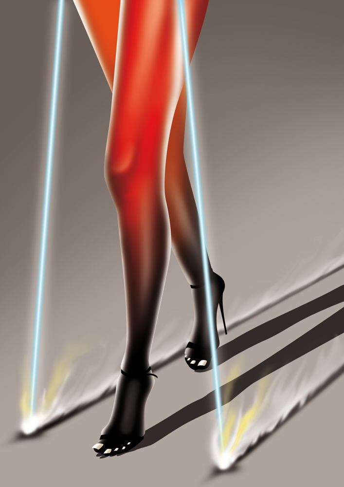 illustration, illustrations, illustrator, illustrators, walk, walking, laser, lasers, legs, high heels, sandals, gradient, futuristic, toes, toenails