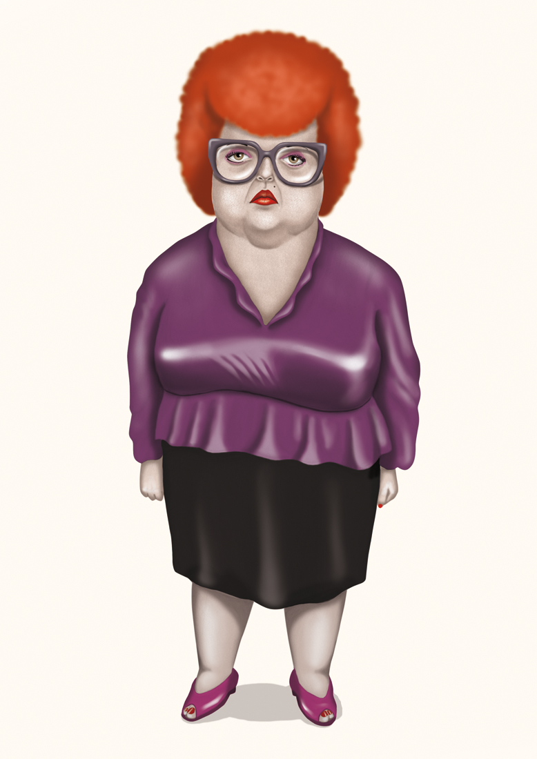illustration, illustrations, illustrator, illustrators, stand, standing, woman, women, glasses, overweight, fat, reflective, highlights, afro, hair, hairstyle, red hair,