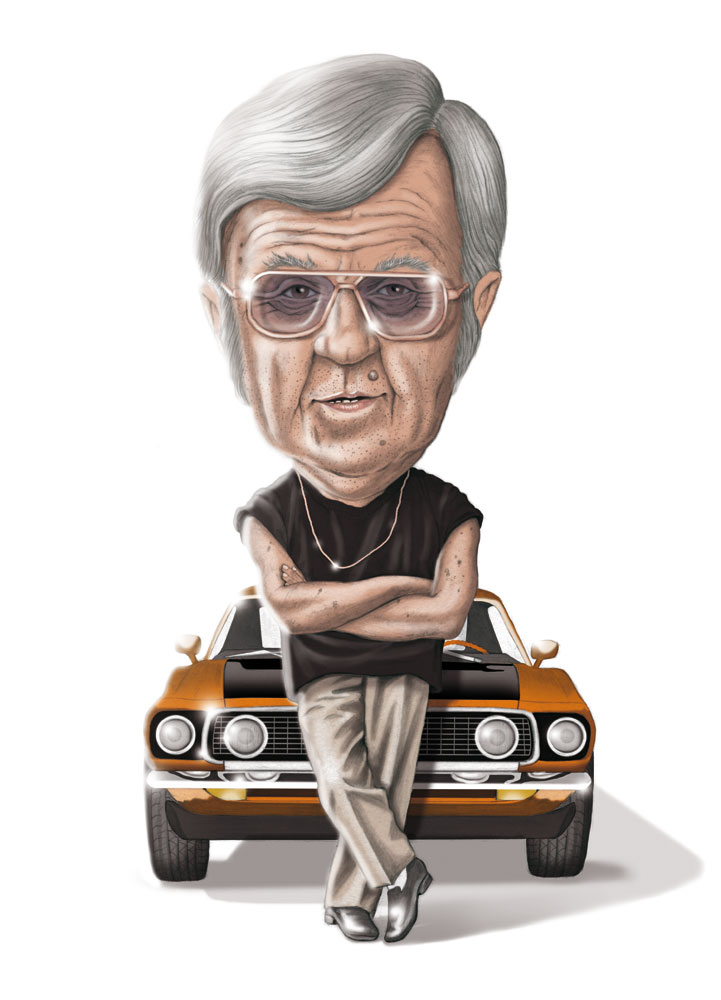 illustration, illustrations, illustrator, illustrators, man, men, pose, posing, car, cars, arms crossed, chain, sunglasses, gray hair, elderly, old man, wrinkles, muscle tee, muscle t, reflection, funny