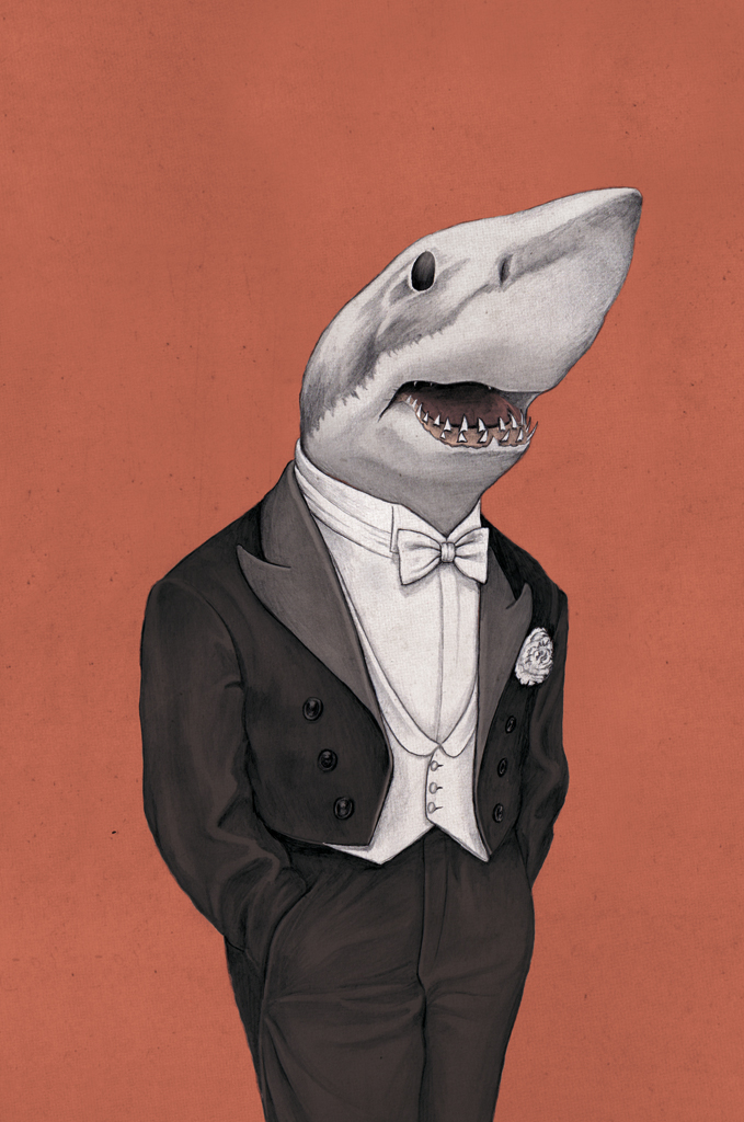 illustration, illustrations, illustrator, illustrators, black tie, suit, tuxedo, shark, sharks, teeth, tooth, stand, standing, pockets, weird, funny
