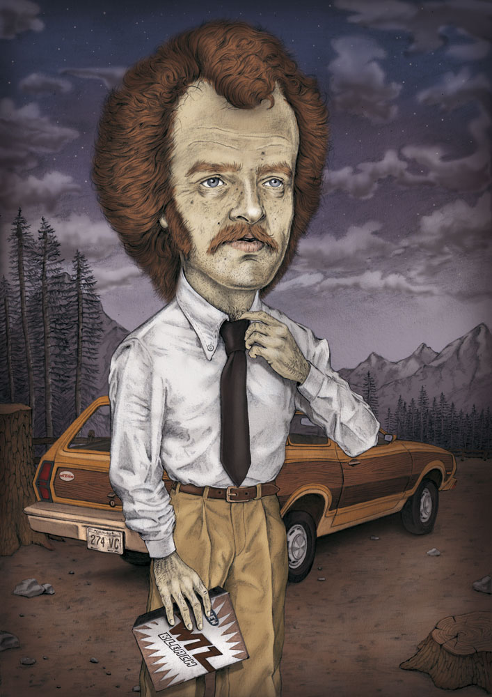 illustration, illustrations, illustrator, illustrators, man, men, mustache, facial hair, tie, ties, car, cars, mountain, mountains, tree, trees, sky, cloud, clouds, night, nighttime, dusk, wrinkles