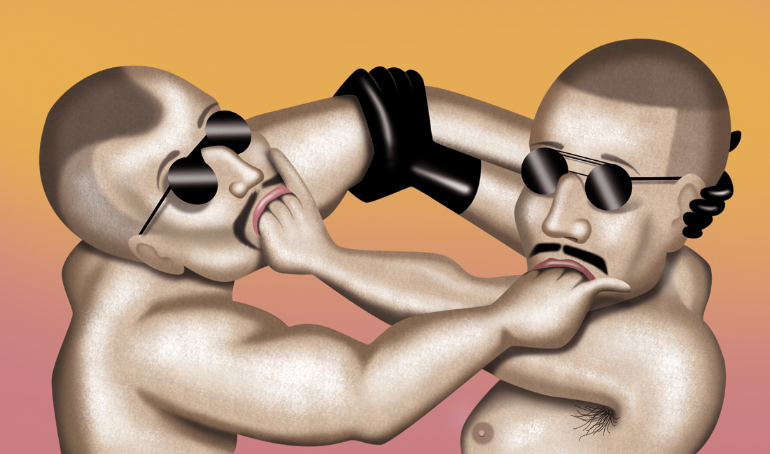 illustration, illustrations, illustrator, illustrators, hand, hands, man, men, sunglasses, body hair, muscles, muscle, glove, gloves, gradient, highlight, sunglasses, mustache, facial hair, erotic